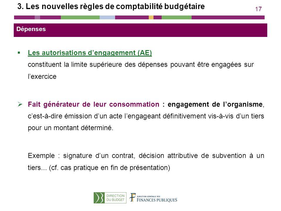 17 3. Les nouvelles règles de comptabilité budgétaire Les autorisations dengagement (AE) constituent la limite supérieure des dépenses pouvant être en