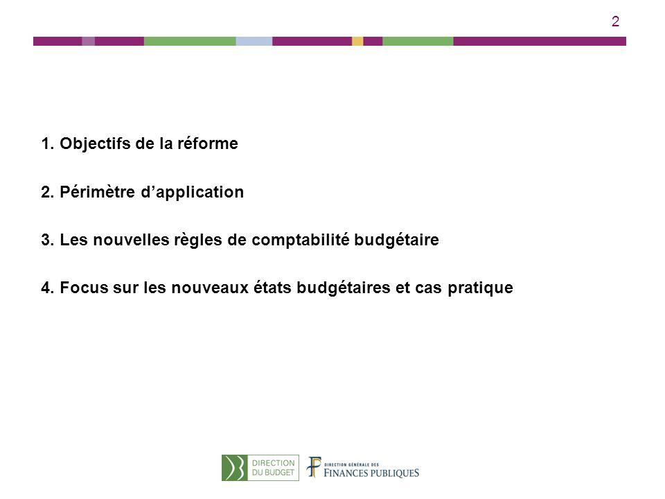 2 1. Objectifs de la réforme 2. Périmètre dapplication 3. Les nouvelles règles de comptabilité budgétaire 4. Focus sur les nouveaux états budgétaires