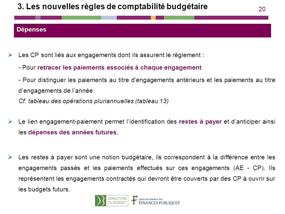 20 3. Les nouvelles règles de comptabilité budgétaire Les CP sont liés aux engagements dont ils assurent le règlement : - Pour retracer les paiements