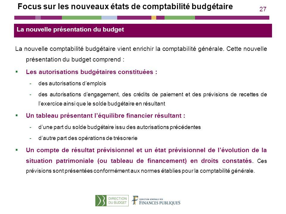27 Focus sur les nouveaux états de comptabilité budgétaire La nouvelle comptabilité budgétaire vient enrichir la comptabilité générale. Cette nouvelle