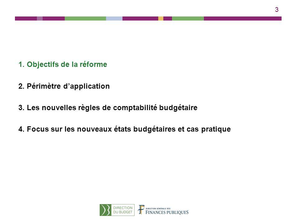 3 1. Objectifs de la réforme 2. Périmètre dapplication 3. Les nouvelles règles de comptabilité budgétaire 4. Focus sur les nouveaux états budgétaires
