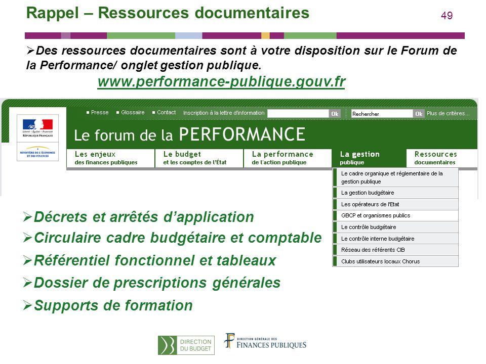 49 Des ressources documentaires sont à votre disposition sur le Forum de la Performance/ onglet gestion publique. www.performance-publique.gouv.fr Rap