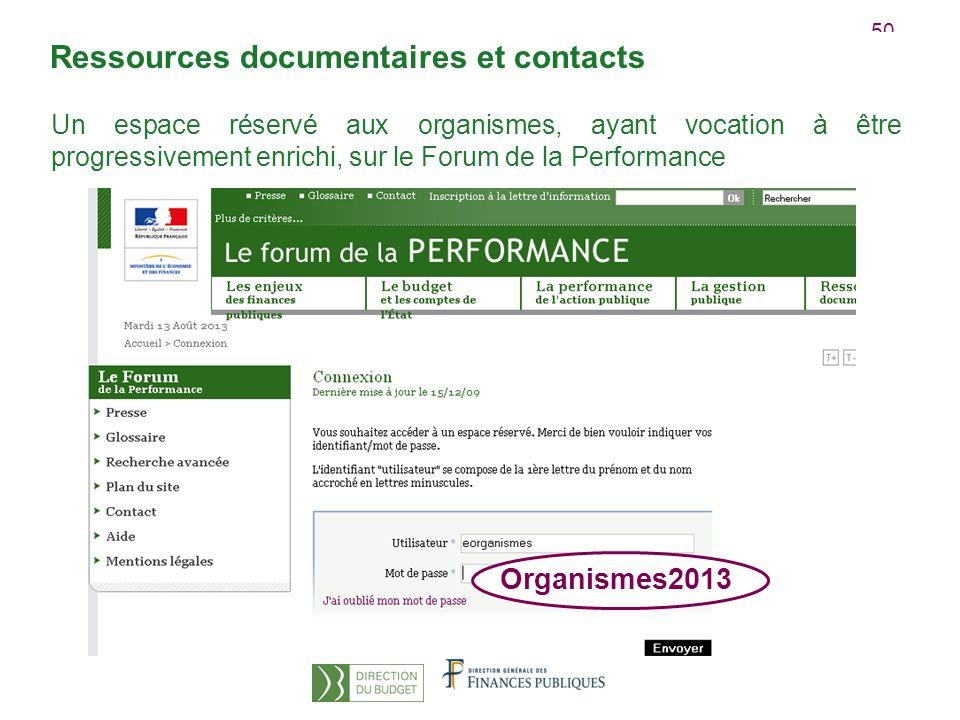 50 Un espace réservé aux organismes, ayant vocation à être progressivement enrichi, sur le Forum de la Performance Organismes2013 Ressources documentaires et contacts