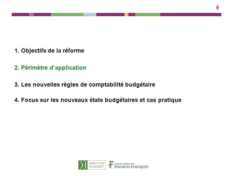 8 1. Objectifs de la réforme 2. Périmètre dapplication 3. Les nouvelles règles de comptabilité budgétaire 4. Focus sur les nouveaux états budgétaires