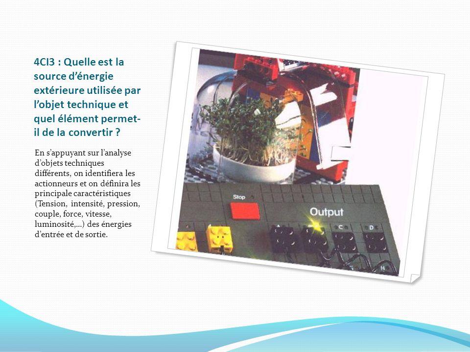 4CI3 : Quelle est la source dénergie extérieure utilisée par lobjet technique et quel élément permet- il de la convertir ? En sappuyant sur lanalyse d