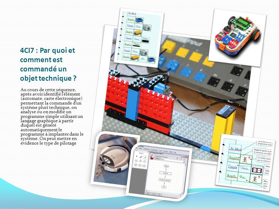 4CI7 : Par quoi et comment est commandé un objet technique ? Au cours de cette séquence, après avoir identifié lélément (automate, carte électronique)