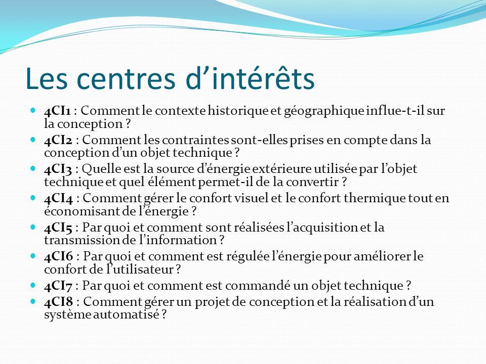 Les centres dintérêts 4CI1 : Comment le contexte historique et géographique influe-t-il sur la conception ? 4CI2 : Comment les contraintes sont-elles