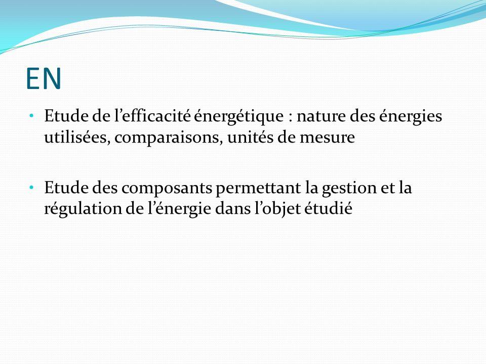 EN Etude de lefficacité énergétique : nature des énergies utilisées, comparaisons, unités de mesure Etude des composants permettant la gestion et la r