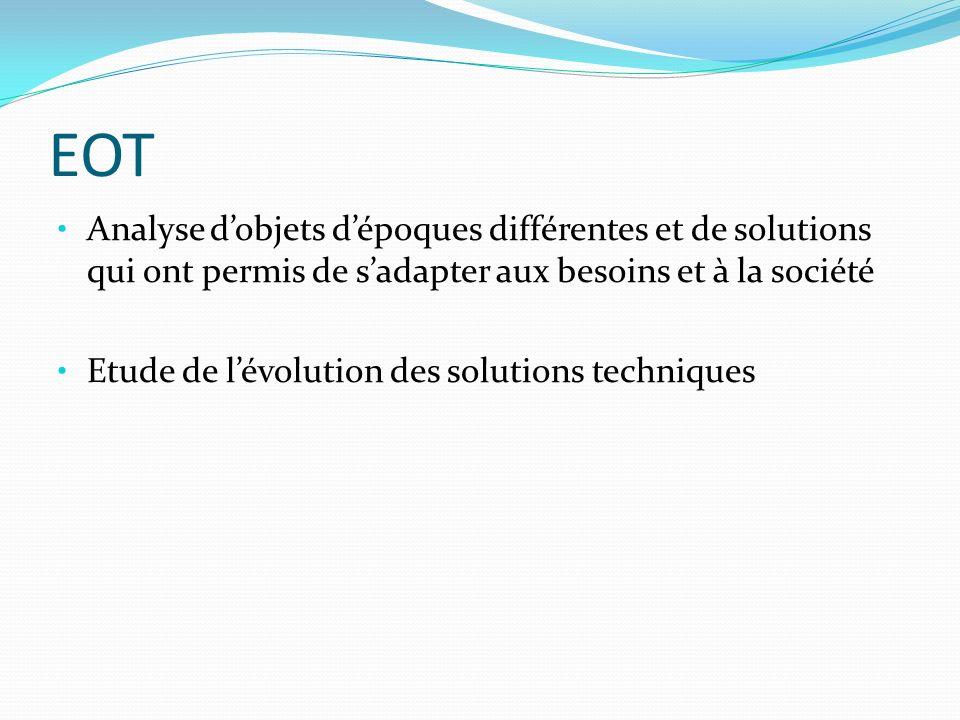 EOT Analyse dobjets dépoques différentes et de solutions qui ont permis de sadapter aux besoins et à la société Etude de lévolution des solutions tech