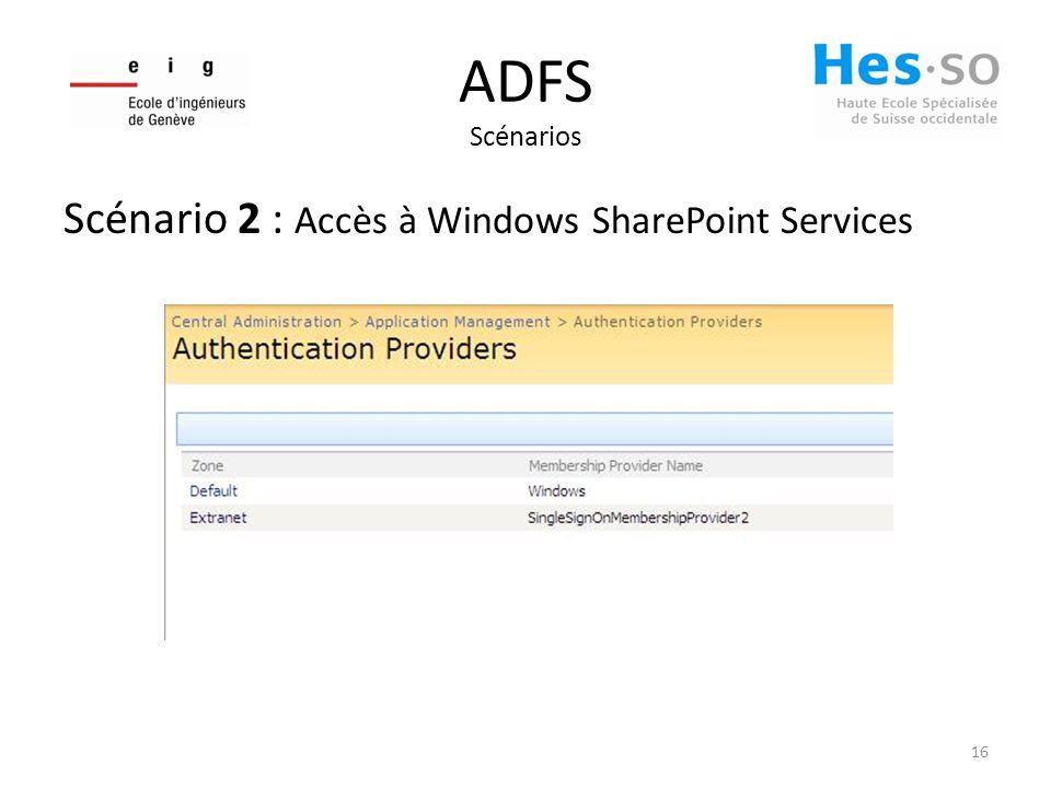 ADFS Scénarios Scénario 2 : Accès à Windows SharePoint Services 16