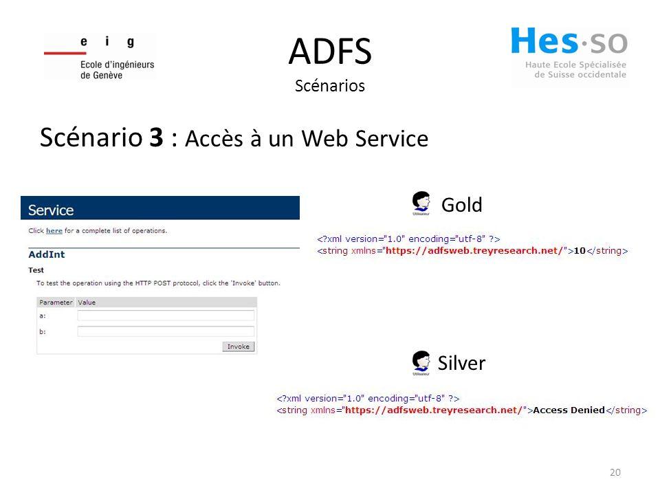 ADFS Scénarios Scénario 3 : Accès à un Web Service Gold Silver 20