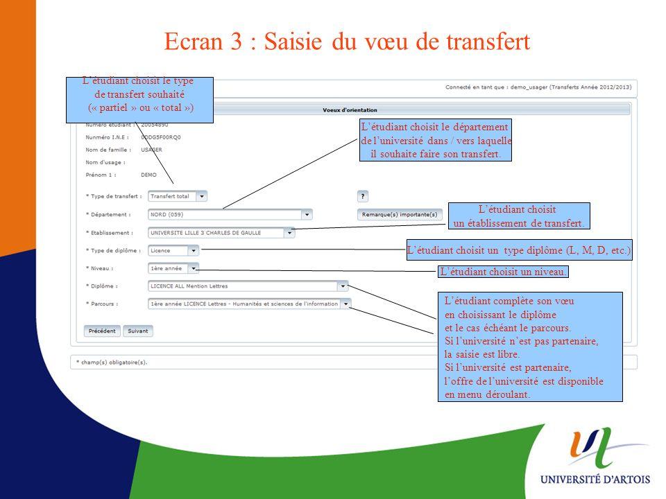 Ecran 3 : Saisie du vœu de transfert Létudiant choisit le type de transfert souhaité (« partiel » ou « total ») Létudiant choisit le département de lu