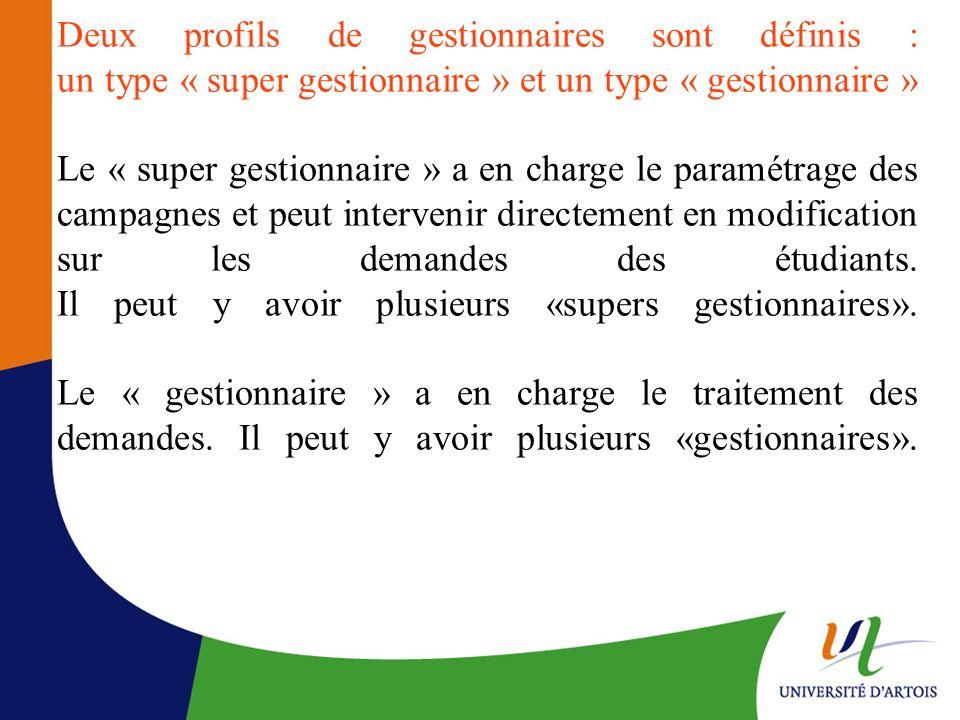 Deux profils de gestionnaires sont définis : un type « super gestionnaire » et un type « gestionnaire » Le « super gestionnaire » a en charge le param