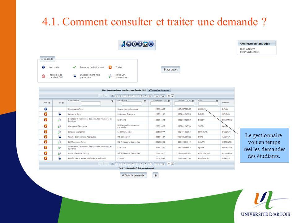 4.1. Comment consulter et traiter une demande ? Le gestionnaire voit en temps réel les demandes des étudiants.