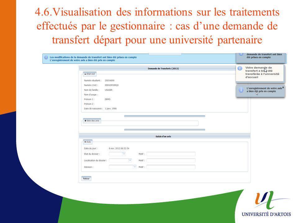 4.6.Visualisation des informations sur les traitements effectués par le gestionnaire : cas dune demande de transfert départ pour une université parten