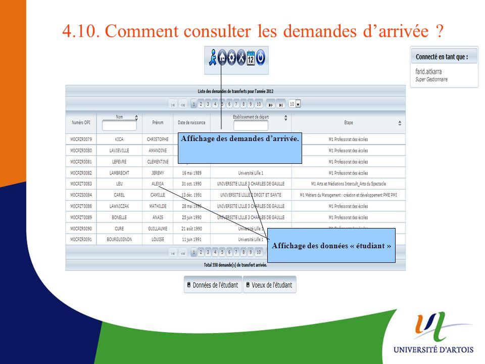 4.10. Comment consulter les demandes darrivée ? Affichage des demandes darrivée. Affichage des données « étudiant »