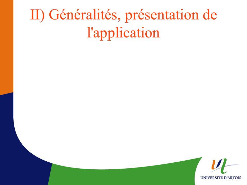 II) Généralités, présentation de l'application