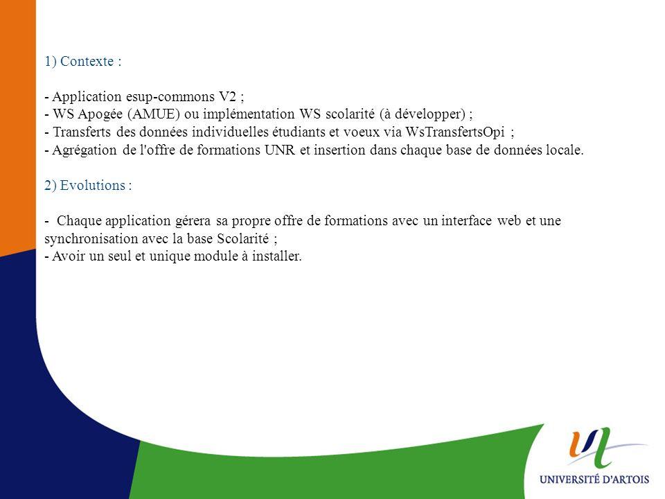 1) Contexte : - Application esup-commons V2 ; - WS Apogée (AMUE) ou implémentation WS scolarité (à développer) ; - Transferts des données individuelle