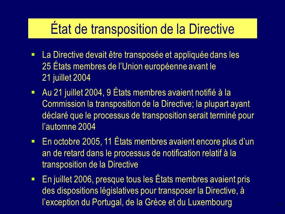 10 État de transposition de la Directive La Directive devait être transposée et appliquée dans les 25 États membres de lUnion européenne avant le 21 juillet 2004 Au 21 juillet 2004, 9 États membres avaient notifié à la Commission la transposition de la Directive; la plupart ayant déclaré que le processus de transposition serait terminé pour lautomne 2004 En octobre 2005, 11 États membres avaient encore plus dun an de retard dans le processus de notification relatif à la transposition de la Directive En juillet 2006, presque tous les États membres avaient pris des dispositions législatives pour transposer la Directive, à lexception du Portugal, de la Grèce et du Luxembourg