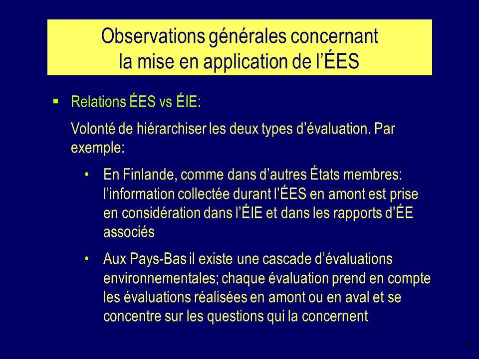 21 Observations générales concernant la mise en application de lÉES Relations ÉES vs ÉIE: Volonté de hiérarchiser les deux types dévaluation.