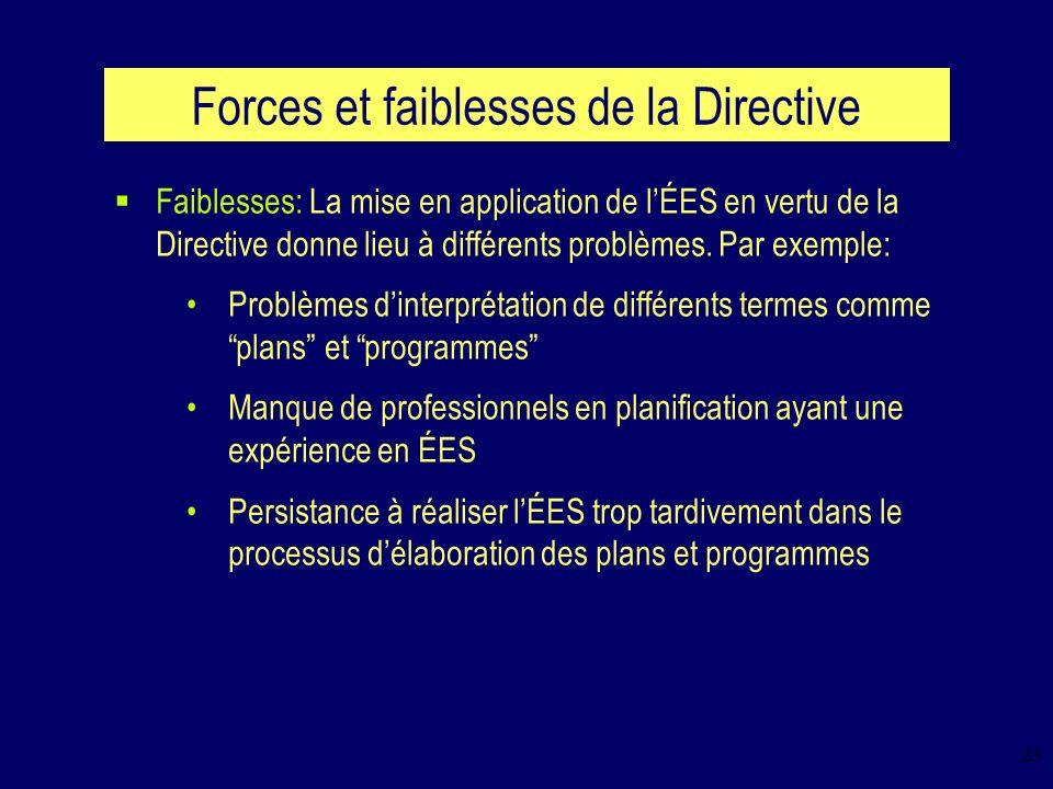 23 Forces et faiblesses de la Directive Faiblesses: La mise en application de lÉES en vertu de la Directive donne lieu à différents problèmes.
