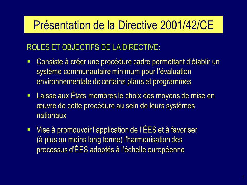 6 Présentation de la Directive 2001/42/CE ÉLÉMENTS DE CONTENU: La Directive impose l obligation de réaliser une ÉES pour l ensemble des plans et programmes élaborés pour un certain nombre de secteurs et qui définissent le cadre dans lequel sinscrivent les projets nécessitant une étude dimpact (en vertu de la Directive européenne 85/337/CEE) Elle laisse aux États membres (sous certaines conditions) la décision d entreprendre ou non une ÉES sur les autres plans et programmes susceptibles d avoir des incidences notables sur l environnement