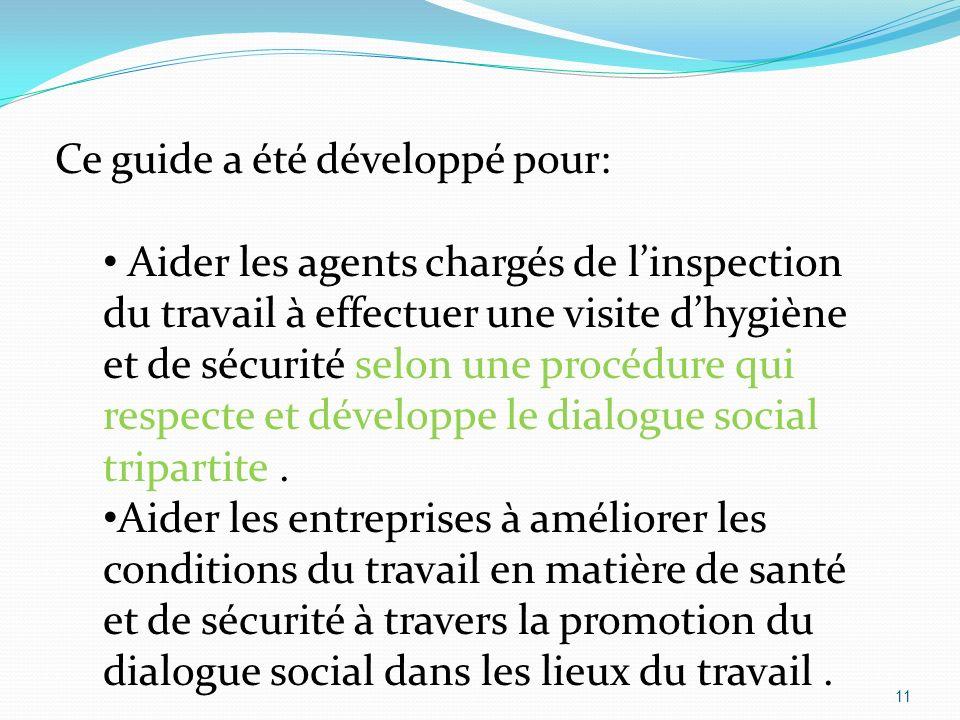 11 Ce guide a été développé pour: Aider les agents chargés de linspection du travail à effectuer une visite dhygiène et de sécurité selon une procédure qui respecte et développe le dialogue social tripartite.