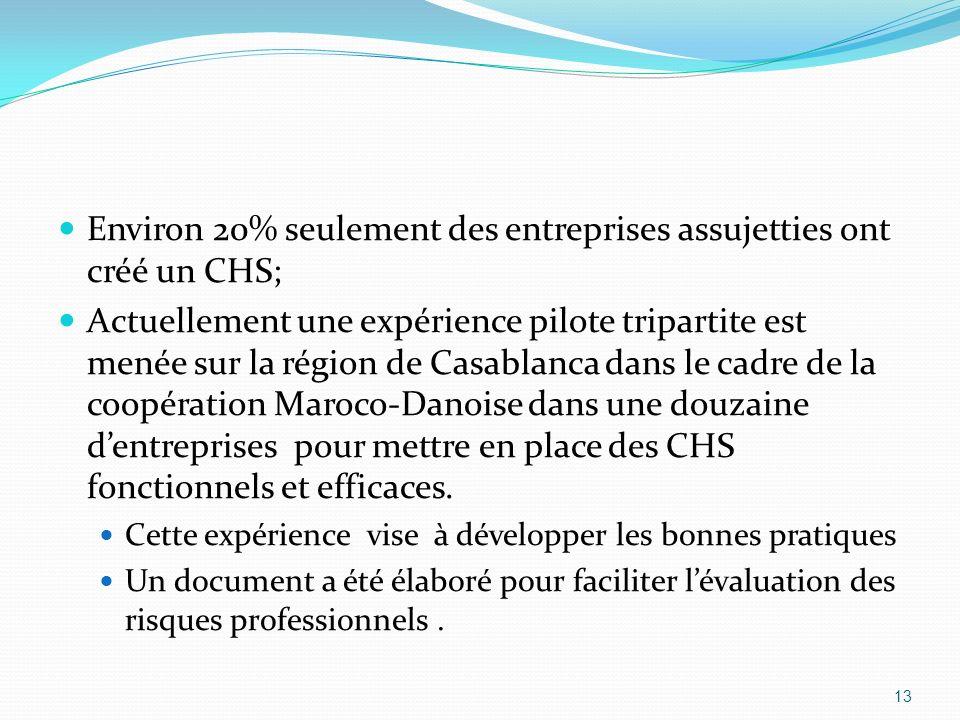 Environ 20% seulement des entreprises assujetties ont créé un CHS; Actuellement une expérience pilote tripartite est menée sur la région de Casablanca dans le cadre de la coopération Maroco-Danoise dans une douzaine dentreprises pour mettre en place des CHS fonctionnels et efficaces.