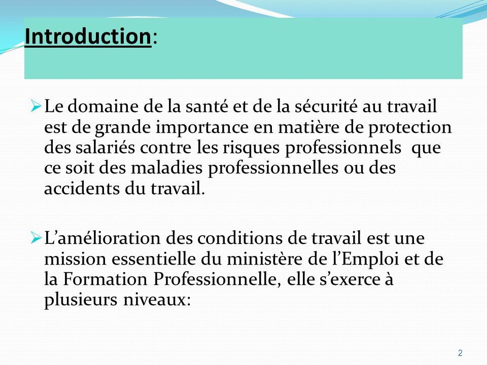 Introduction: Le domaine de la santé et de la sécurité au travail est de grande importance en matière de protection des salariés contre les risques professionnels que ce soit des maladies professionnelles ou des accidents du travail.