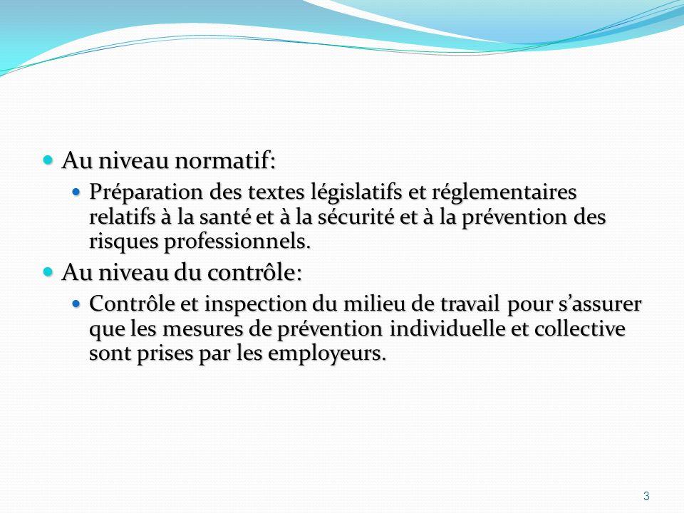 Au niveau normatif: Au niveau normatif: Préparation des textes législatifs et réglementaires relatifs à la santé et à la sécurité et à la prévention des risques professionnels.