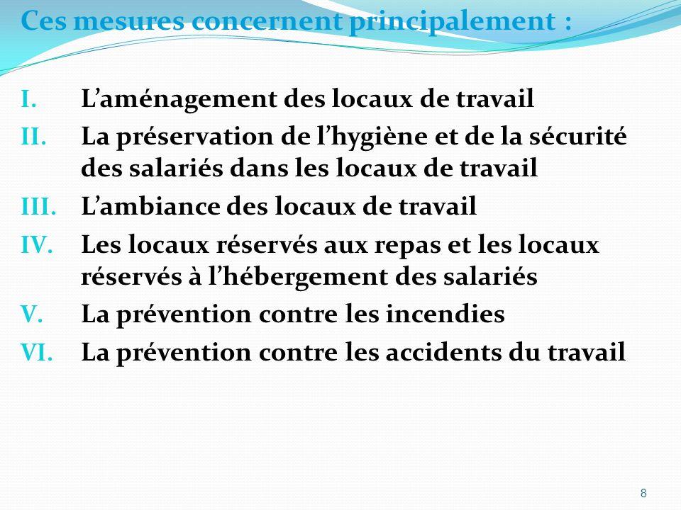 Ces mesures concernent principalement : I. Laménagement des locaux de travail II.