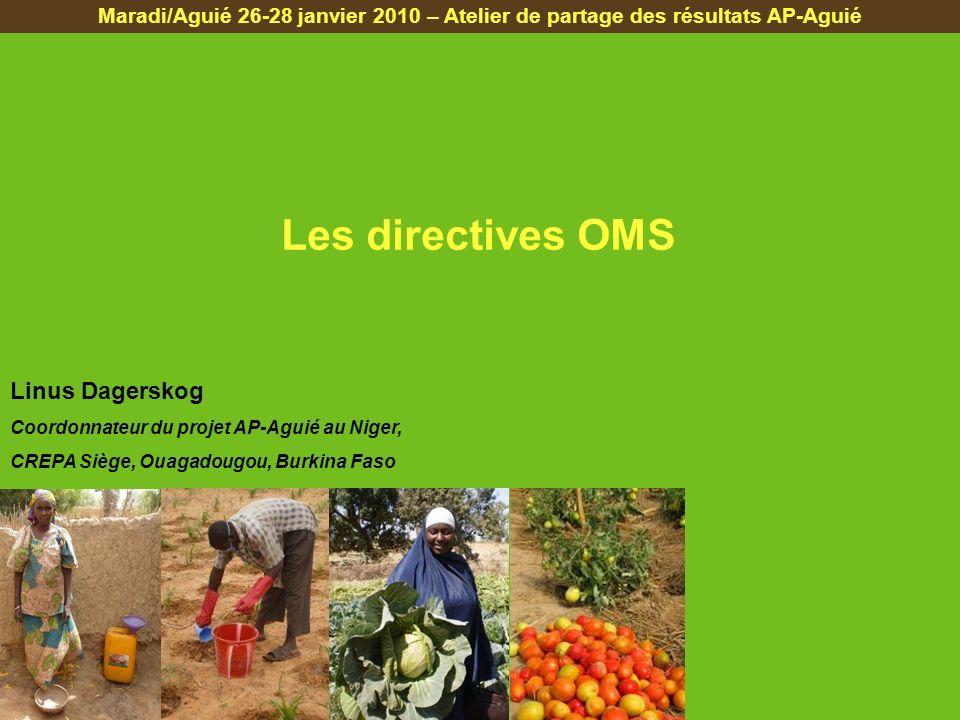 Les directives OMS Maradi/Aguié 26-28 janvier 2010 – Atelier de partage des résultats AP-Aguié Linus Dagerskog Coordonnateur du projet AP-Aguié au Niger, CREPA Siège, Ouagadougou, Burkina Faso