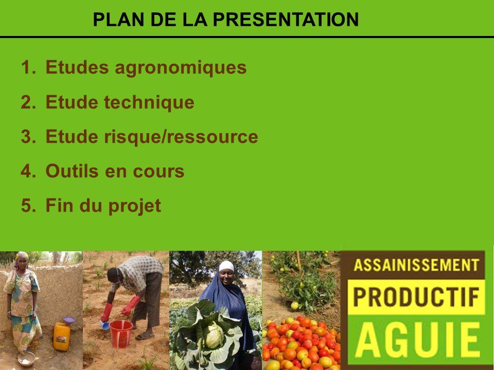 1.Etudes agronomiques 2.Etude technique 3.Etude risque/ressource 4.Outils en cours 5.Fin du projet PLAN DE LA PRESENTATION