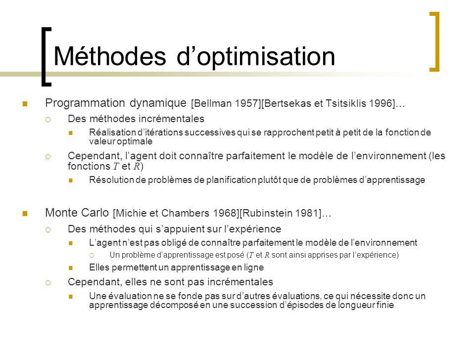 Méthodes doptimisation Programmation dynamique [Bellman 1957][Bertsekas et Tsitsiklis 1996]… Des méthodes incrémentales Réalisation ditérations succes