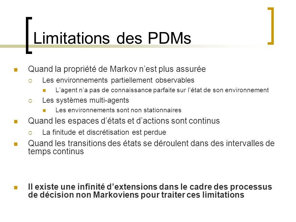 Limitations des PDMs Quand la propriété de Markov nest plus assurée Les environnements partiellement observables Lagent na pas de connaissance parfait