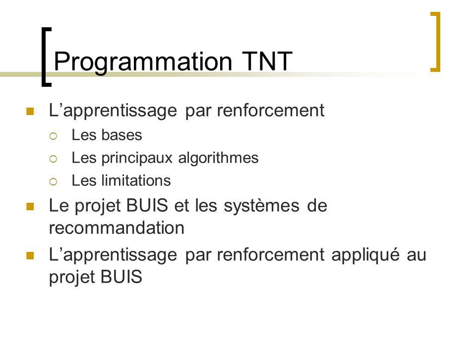 Programmation TNT Lapprentissage par renforcement Les bases Les principaux algorithmes Les limitations Le projet BUIS et les systèmes de recommandatio