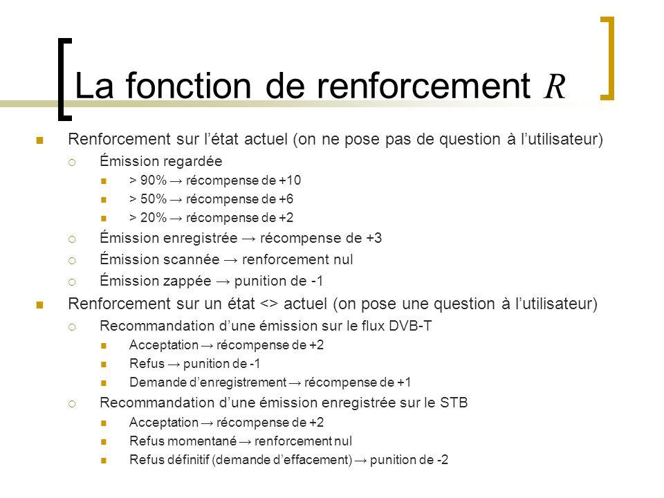 La fonction de renforcement R Renforcement sur létat actuel (on ne pose pas de question à lutilisateur) Émission regardée > 90% récompense de +10 > 50