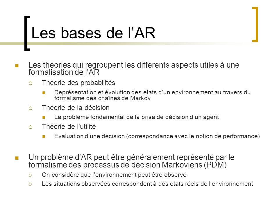 Les bases de lAR Les théories qui regroupent les différents aspects utiles à une formalisation de lAR Théorie des probabilités Représentation et évolu