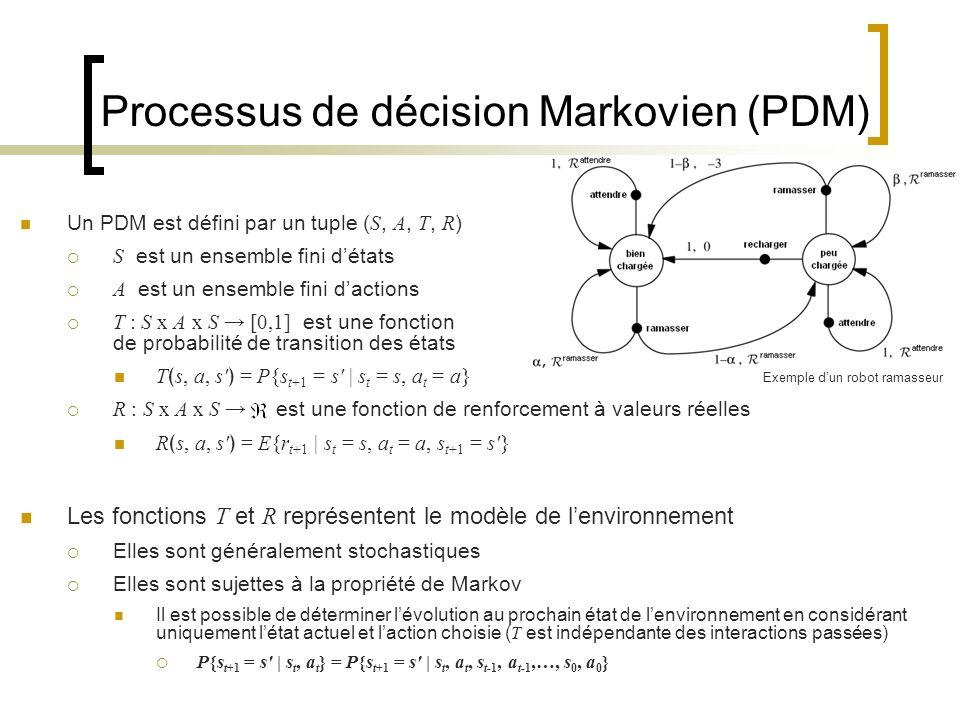 Processus de décision Markovien (PDM) Un PDM est défini par un tuple ( S, A, T, R ) S est un ensemble fini détats A est un ensemble fini dactions T :