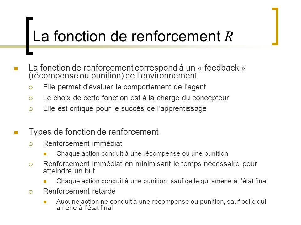 La fonction de renforcement correspond à un « feedback » (récompense ou punition) de lenvironnement Elle permet dévaluer le comportement de lagent Le