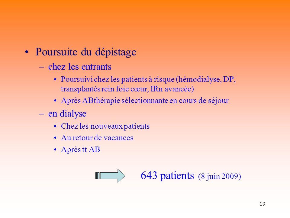 19 Poursuite du dépistage –chez les entrants Poursuivi chez les patients à risque (hémodialyse, DP, transplantés rein foie cœur, IRn avancée) Après AB