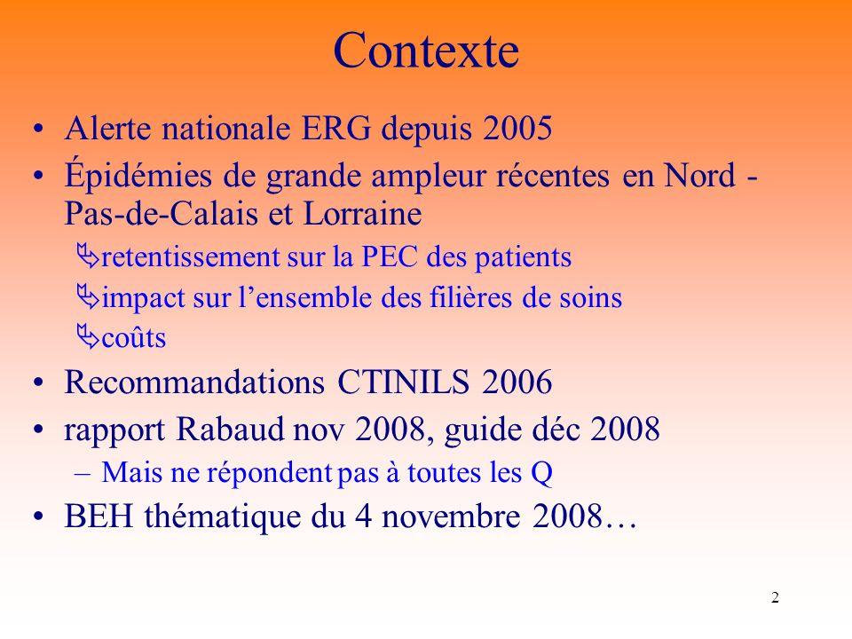 2 Contexte Alerte nationale ERG depuis 2005 Épidémies de grande ampleur récentes en Nord - Pas-de-Calais et Lorraine retentissement sur la PEC des pat