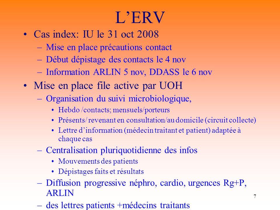 7 LERV Cas index: IU le 31 oct 2008 –Mise en place précautions contact –Début dépistage des contacts le 4 nov –Information ARLIN 5 nov, DDASS le 6 nov