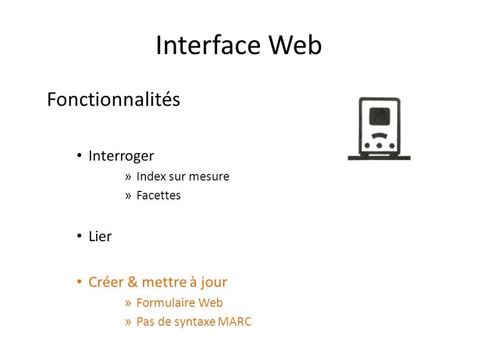 Interface Web Fonctionnalités Interroger » Index sur mesure » Facettes Lier Créer & mettre à jour » Formulaire Web » Pas de syntaxe MARC