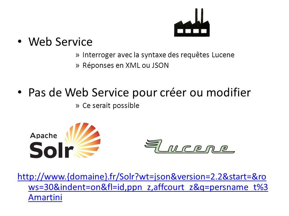 Web Service » Interroger avec la syntaxe des requêtes Lucene » Réponses en XML ou JSON Pas de Web Service pour créer ou modifier » Ce serait possible http://www.{domaine}.fr/Solr wt=json&version=2.2&start=&ro ws=30&indent=on&fl=id,ppn_z,affcourt_z&q=persname_t%3 Amartini