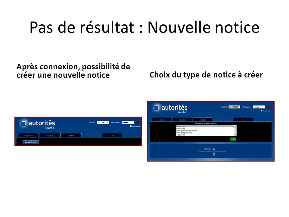 Pas de résultat : Nouvelle notice Après connexion, possibilité de créer une nouvelle notice Choix du type de notice à créer