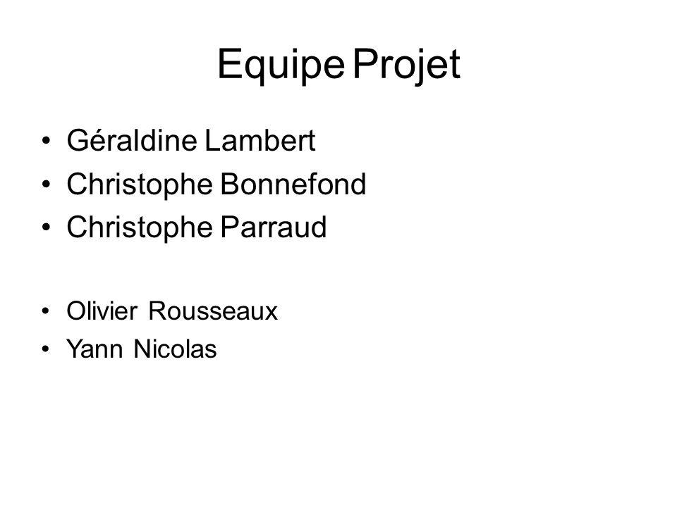 EquipeProjet Géraldine Lambert Christophe Bonnefond Christophe Parraud Olivier Rousseaux Yann Nicolas