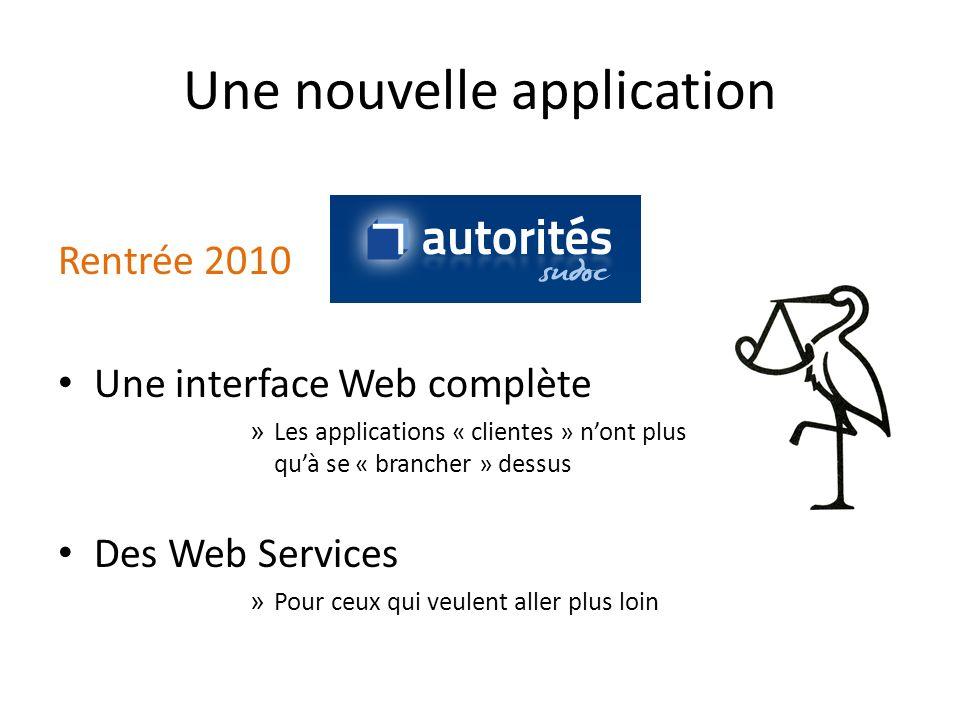 Une nouvelle application Rentrée 2010 Une interface Web complète » Les applications « clientes » nont plus quà se « brancher » dessus Des Web Services » Pour ceux qui veulent aller plus loin