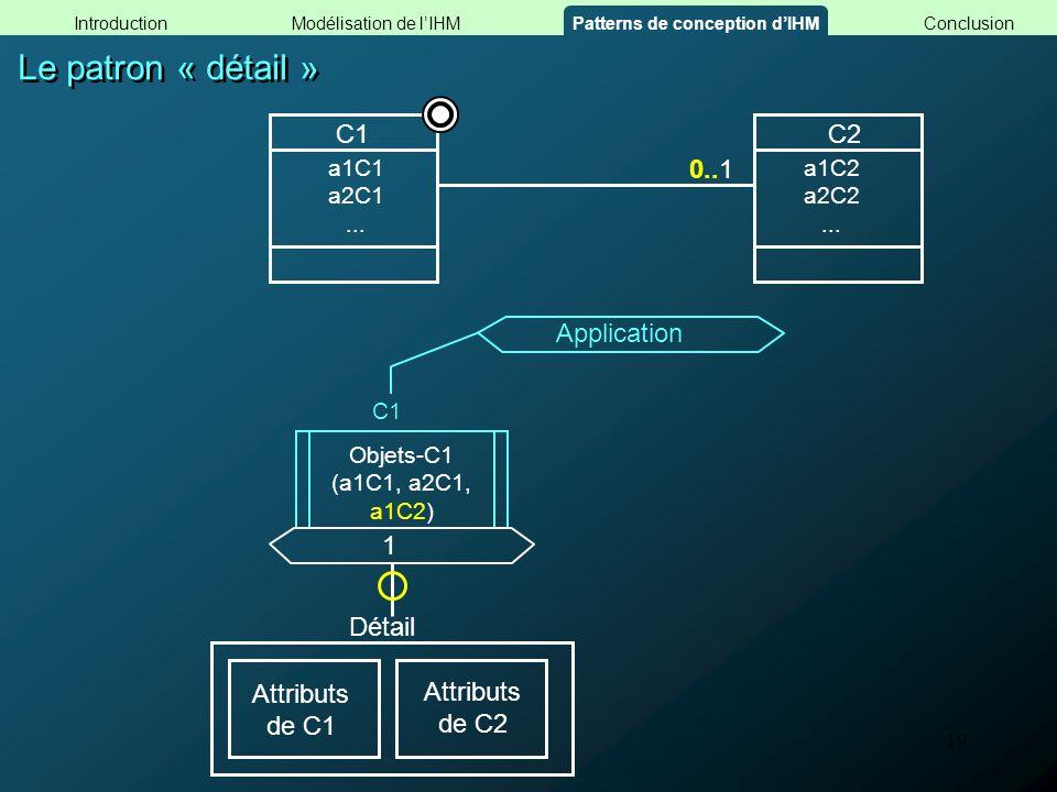 19 Le patron « détail » Objets-C1 (a1C1, a2C1, a1C2) C1 Application 1 Détail Attributs de C1 Attributs de C2 0.. C1C2 a1C2 a2C2... a1C1 a2C1... 1 Modé