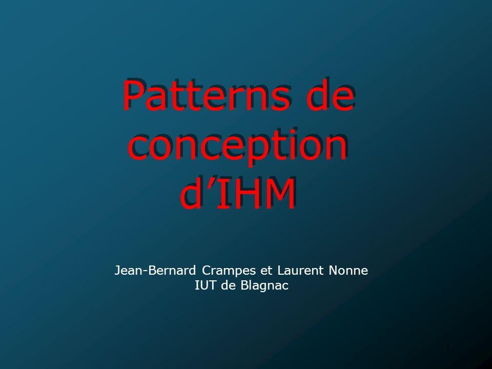 3 PLAN 3 : Patterns de conception dIHM 1 : Introduction 2 : Modélisation de lIHM 4 : Conclusion